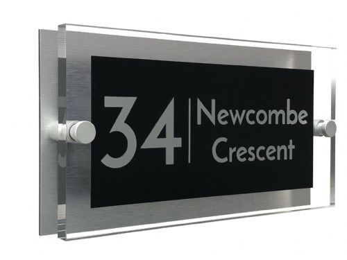 Rectangle Shape - Clear Acrylic House Sign - Black Colour with Silver text in Font  3